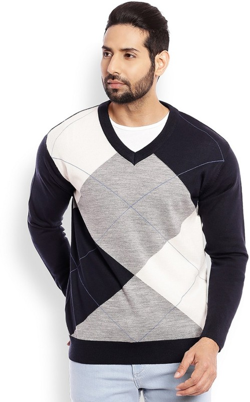 Raymond Solid V-neck Casual Mens Multicolor Sweater