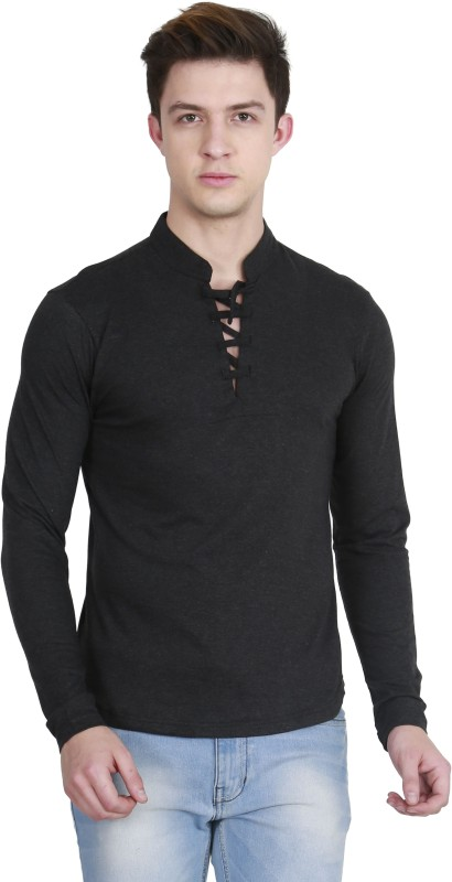 Fanideaz Solid Men's V-neck Black T-Shirt