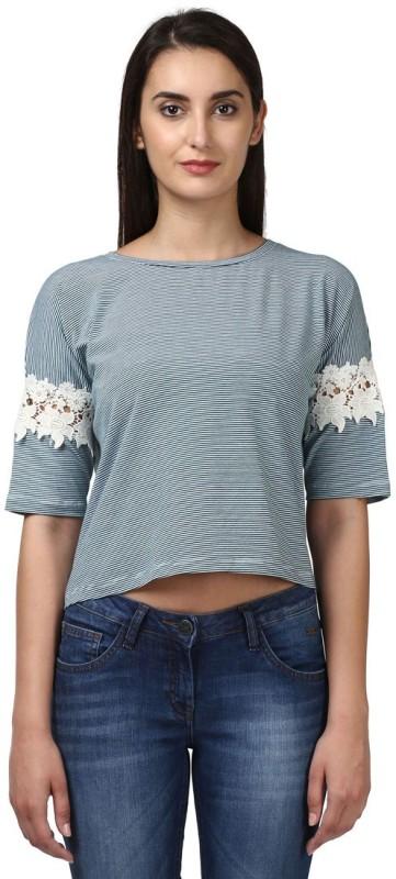 Park Avenue Casual Half Sleeve Solid Women's Grey Top