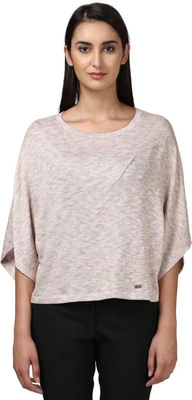 Park Avenue Casual Half Sleeve Solid Women's Beige Top