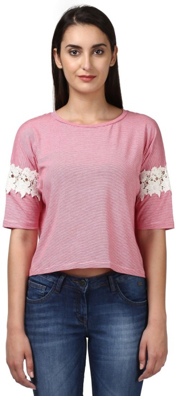 Park Avenue Casual Half Sleeve Solid Women's Red Top