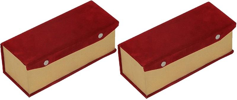 Kuber Industries Single Roll Bangle Box In Velvet Hard Board Material Set of 2 Pcs (Code-COM028) Jewellery Vanity Box(Maroon)