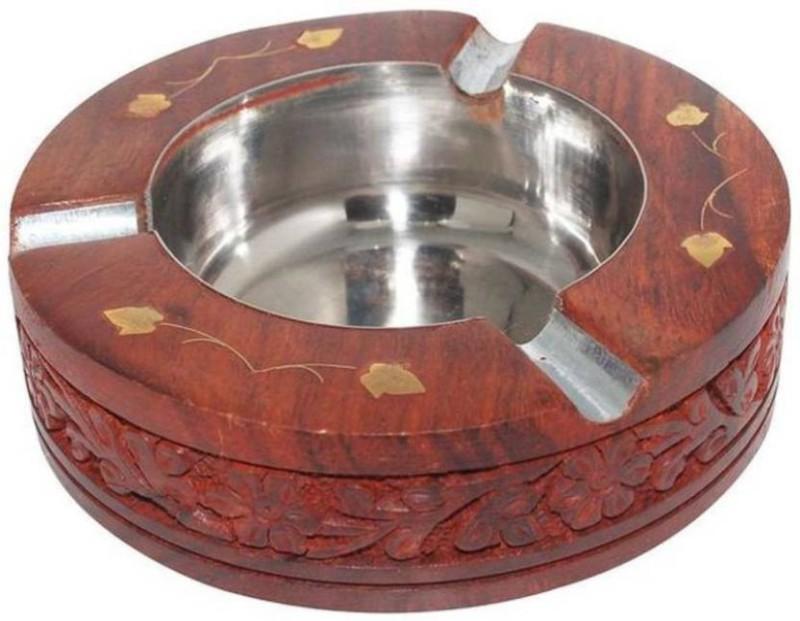 SRI LALIT ARTS ASHTRAY CARVING 5*22C Brown Wooden Ashtray(Pack of 1)