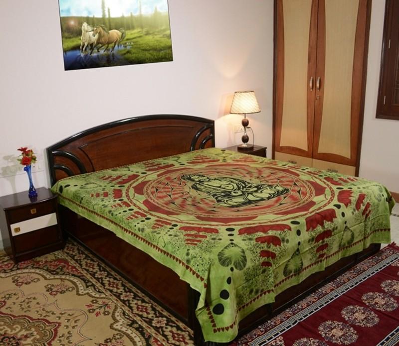 Sora 0 TC Cotton Double Self Design Bedsheet(1 bedsheet, Green)
