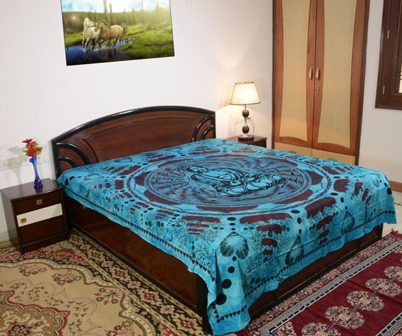 Sora 0 TC Cotton Double Self Design Bedsheet(1 bedsheet, Sky Blue)