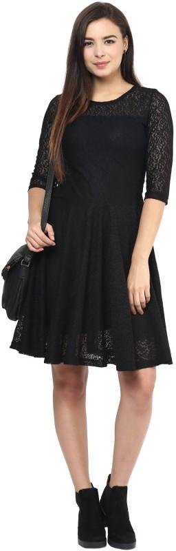 Indian Wear Online Women's Fit and Flare Dark Blue Dress