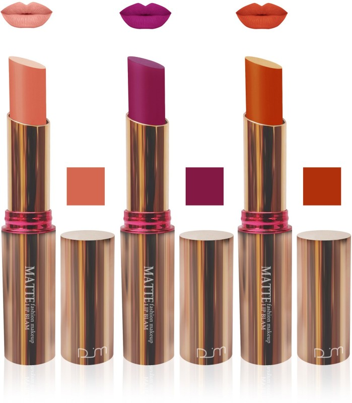 FEMINA09 velvet matte lipstick Enriched with vitamin E non transfer kiss proof L pink purple orange 7 day combo makeup cosmetics collection set of 3(pink, purple, orange, 15 g)