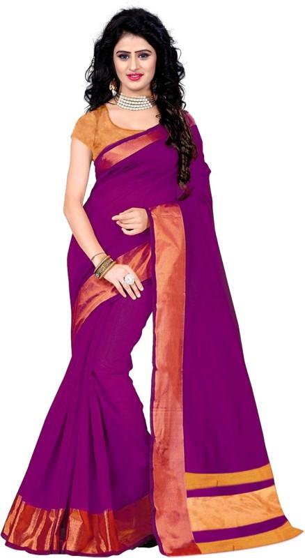 Trendz Style Striped Fashion Tussar Silk Saree(Pink)