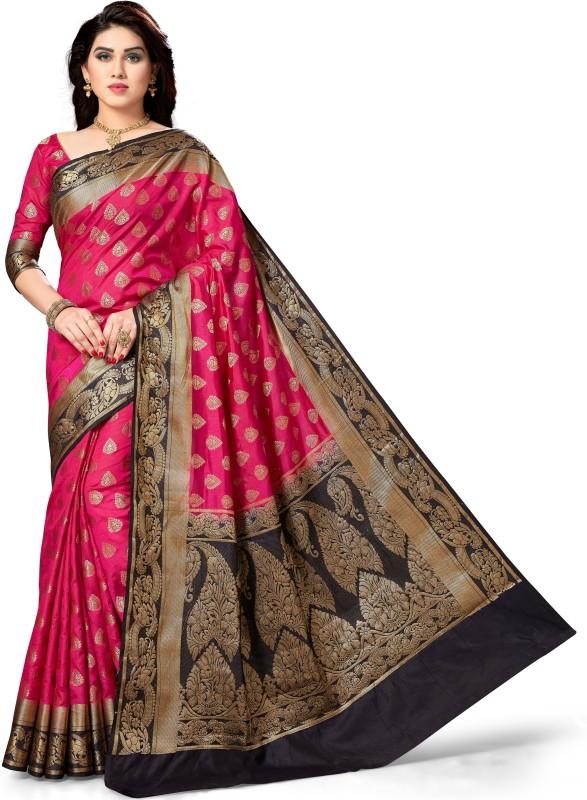 M.S.Retail Self Design Kanjivaram Silk Saree(Pink, Blue)