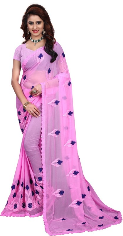 Wama Fashion Embroidered, Embellished Fashion Chiffon Saree(Pink)