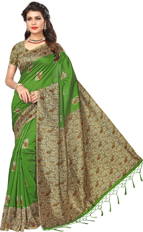 Ratnavati Printed, Floral Print, Striped, Plain, Striped Kalamkari Art Silk Saree(Green)