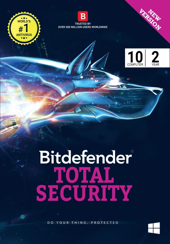 Bitdefender Total Security Latest Version - 10 Computers, 2 Years (Voucher)