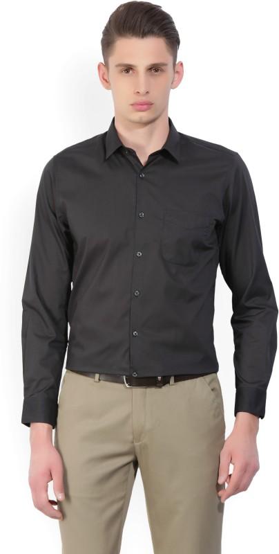 Peter England Mens Solid Formal Black Shirt