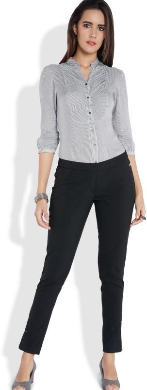 Park Avenue Women Striped Casual Grey Shirt