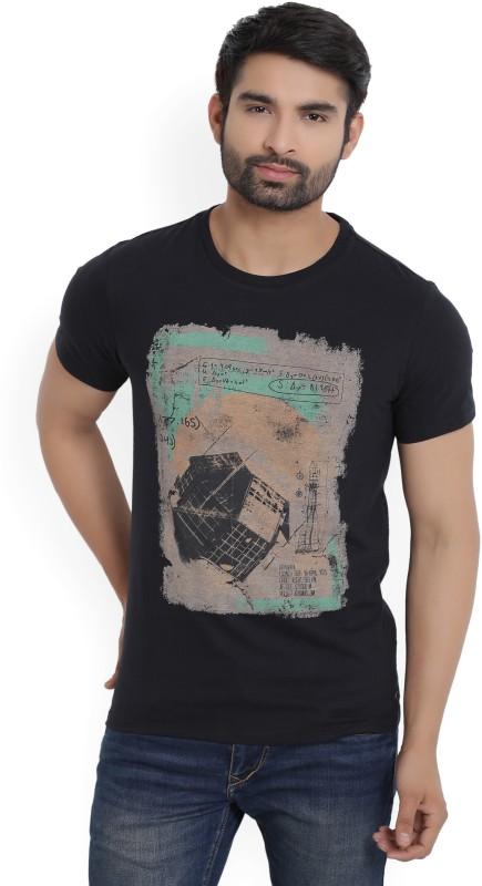 Peter England Printed Mens Round Neck Black T-Shirt