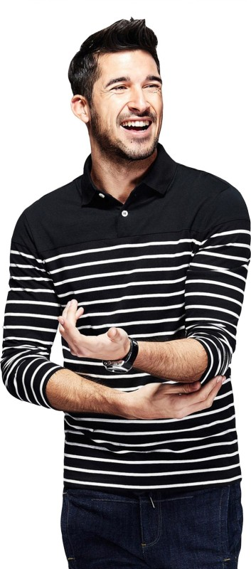 Fanideaz Striped Men's Polo Neck Black T-Shirt