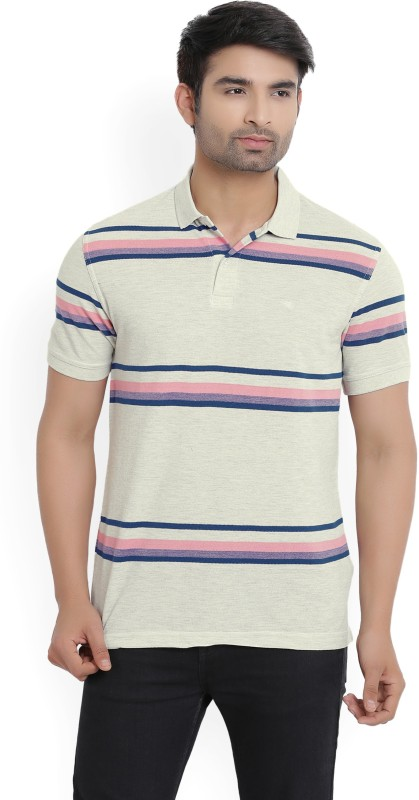 Peter England Striped Mens Polo Neck Beige T-Shirt