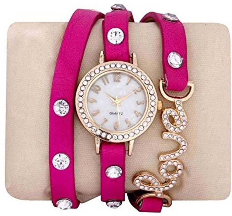 ReniSales New Stylish Diamond Studded Love Bracelet Watch For Women Fashion Watch - For Girls