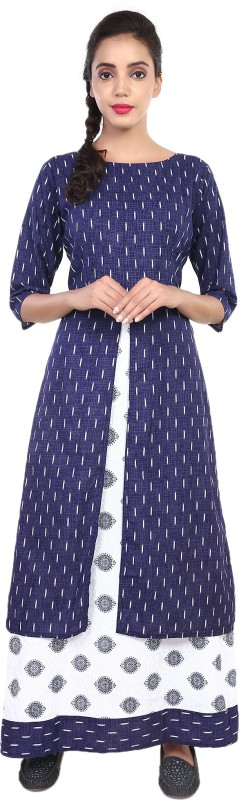 Metro Fashion Women Printed, Block Print Frontslit Kurta(Blue, White)