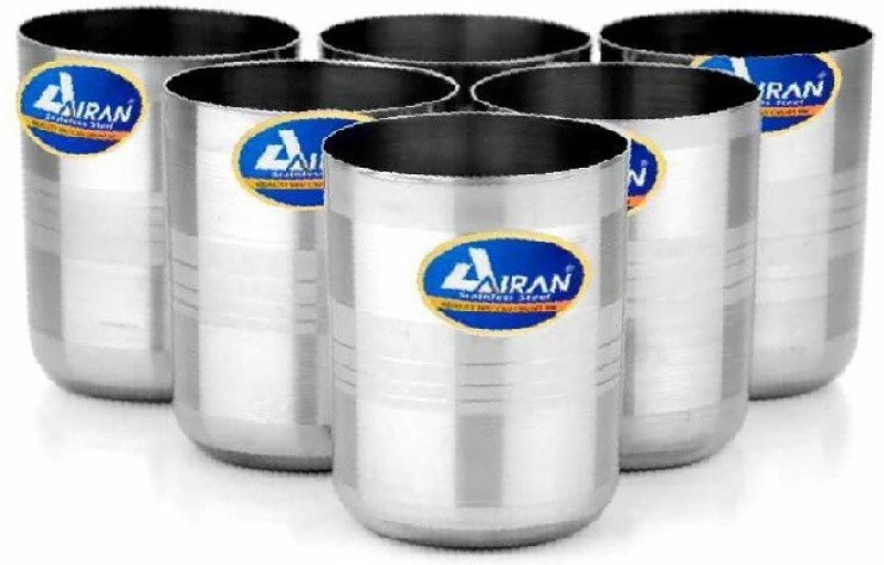 Airan 24454545 Glass Set(350, Silver, Pack of 6)