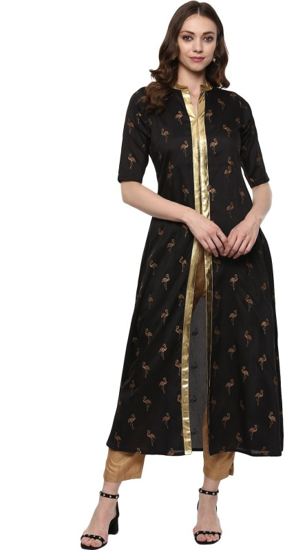 Ahalyaa Women's Self Design Frontslit Kurta(Black)