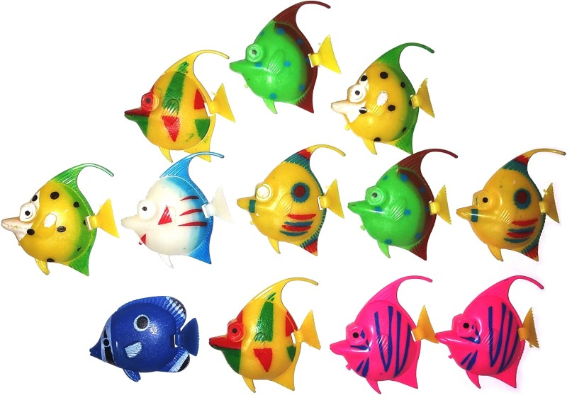 ROYAL PET Artificial Fishes (Set of 12 pieces) | Decorations Artificial Fish for Aquarium Fish Tank (Random Color and Pattern) | Plastic Training Aid For Fish