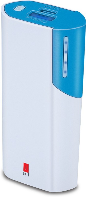 Iball 5000 Power Bank (PB-5058 White / Blue, 5000mAH With LED Indication)(White / Blue, Lithium-ion)