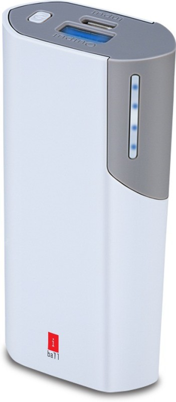 Iball 5000 Power Bank (PB-5058 White / Grey, 5000mAH With LED Indication)(Whire / Grey, Lithium-ion)