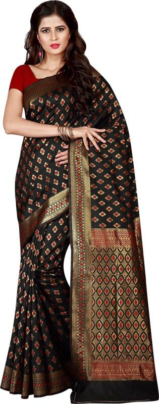 Viva N Diva Woven, Embellished Patola Silk Saree(Black)
