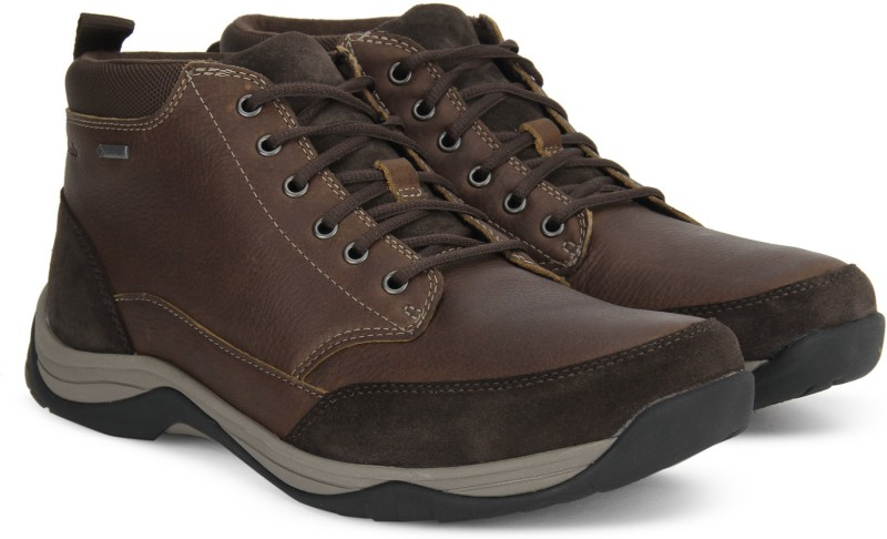 Clarks BaystoneTopGTX Brown WLined Lea Boots For Men(Brown)