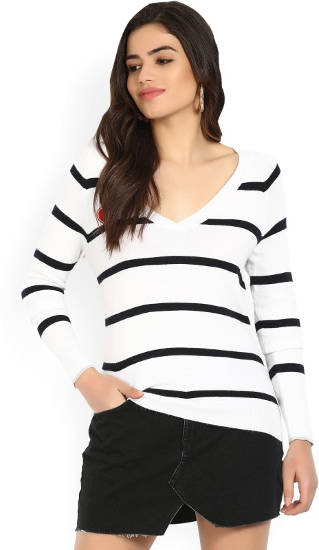 Vero Moda Striped V-neck Casual Women's White Sweater