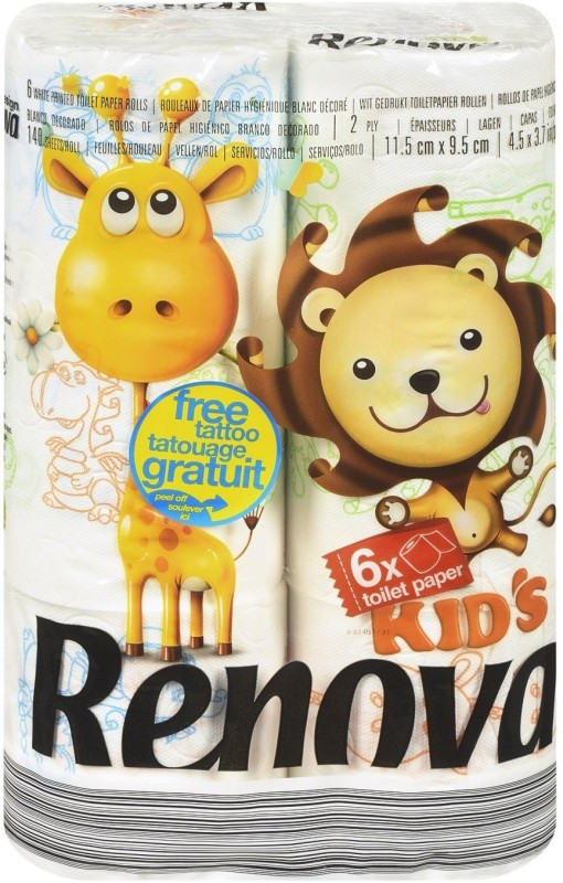 Renova Toilet Papers Kids Toilet Paper Roll(2 Ply, 140 Sheets)