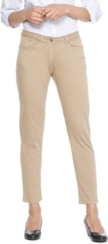 Allen Solly Regular Fit Women Beige Trousers