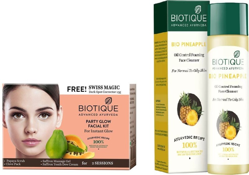 BIOTIQUE BIO Bio Party Gelow Facial Kit, Pineapple Oil Control Face Cleanser For Normal To Oil Skin(Set of 2)
