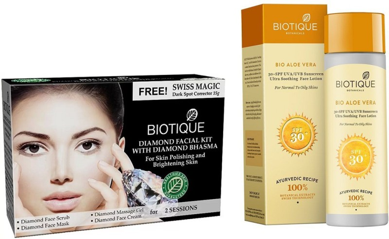 BIOTIQUE BIO Bio Pearl White Facial Kit, Bio Carrot 30+Spc Sunscreen Ultra Soothing Face Lotion(Set of 2)