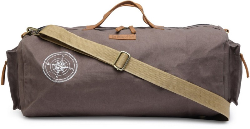 The House of Tara Special Waxed Canvas Gym (Expandable) Travel Duffel Bag(Grey)