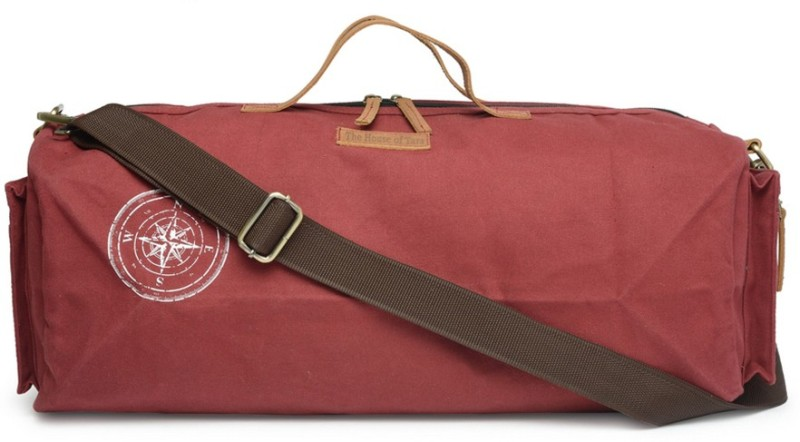 The House of Tara Special Waxed Canvas Gym (Expandable) Travel Duffel Bag(Maroon)