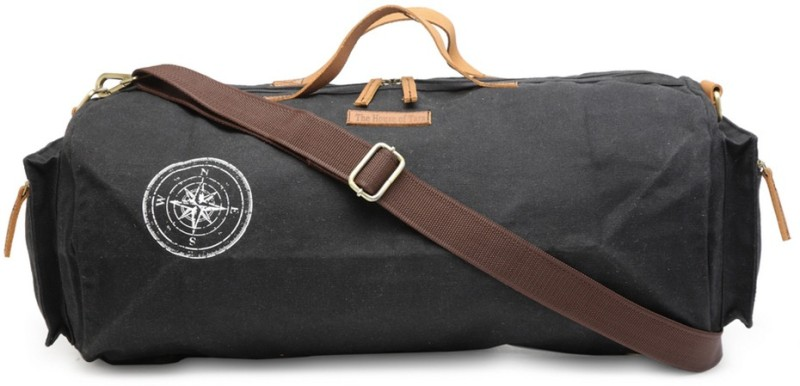 The House of Tara Special Waxed Canvas Gym (Expandable) Travel Duffel Bag(Black)