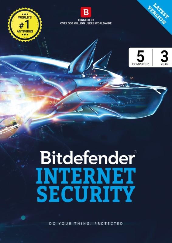 Bitdefender Internet Security Latest Version - 5 Computers, 3 Years (Voucher)