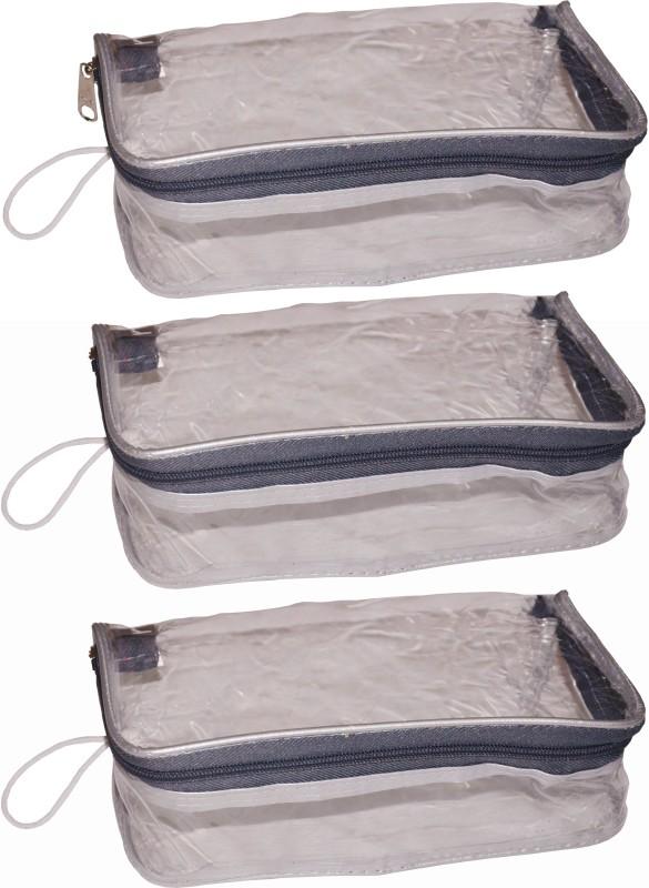 Funkroo Pack of 3 transparent cosmetic bag bridal organizer jewellry srorage vanity box Jewellery Vanity Box(Transparent)