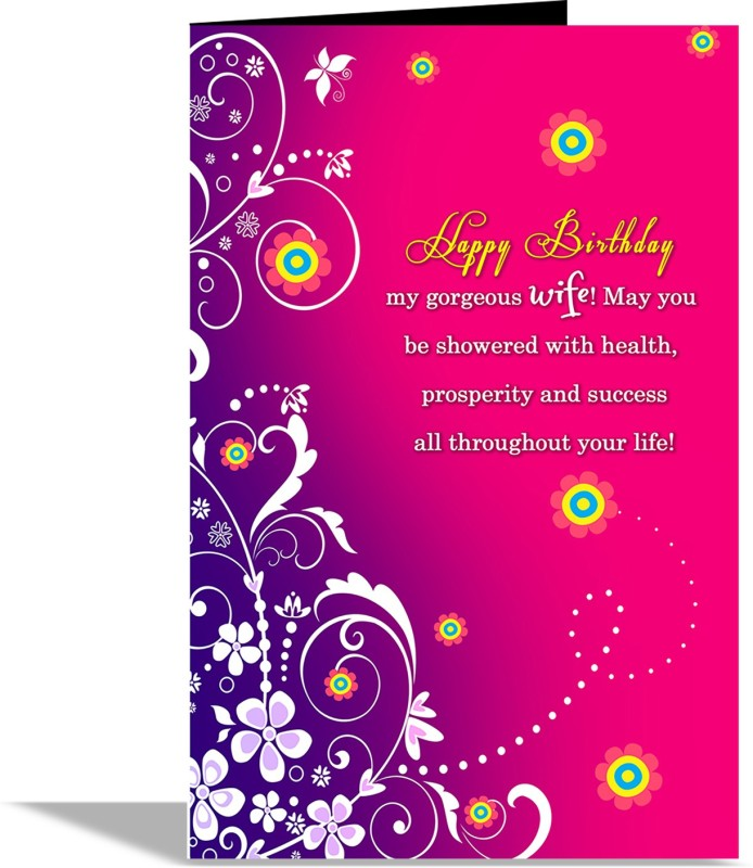 Alwaysgift Happy Birthday My Gorgeous Wife Greeting Card CardMulticolor Pack Of 1