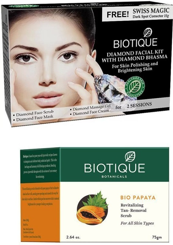 BIOTIQUE BIO Bio Diamond Facial Kit, Bio Papaya Revitalizing Tan Removal Scrub(Set of 2)