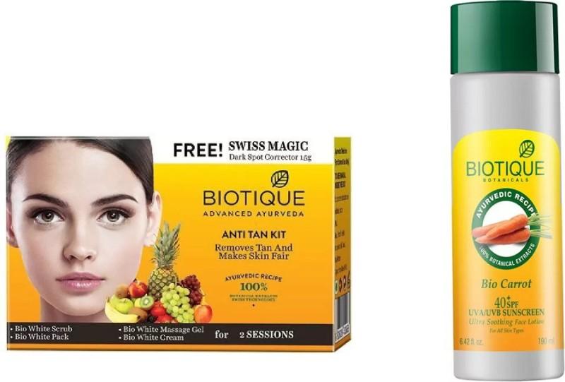 BIOTIQUE BIO Bio Anti Tan Facial Kit, Bio Carrot 40+ Spf Sunscreen Ultra Soothing Face Lotion(Set of 2)