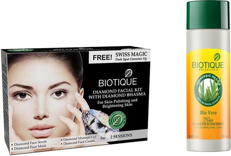 BIOTIQUE BIO Bio Diamond Facial Kit, Bio Vera 75+ Spf Sunscreen Ultra Soothing Body Lotion(Set of 2)