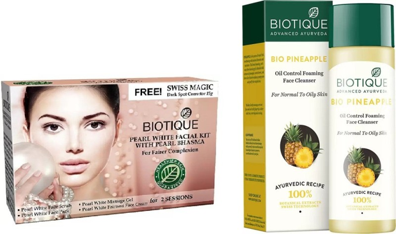 BIOTIQUE BIO Bio Pearl White Facial Kit, Pineapple Oil Control Face Cleanser For Normal To Oil Skin(Set of 2)
