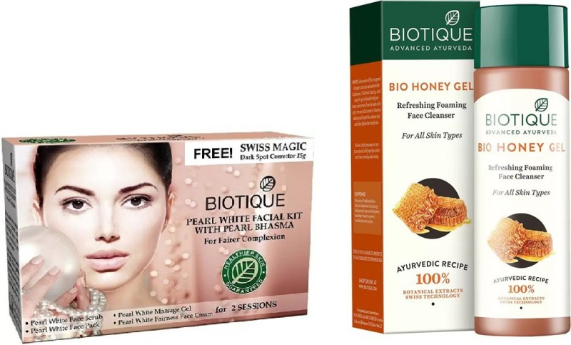 BIOTIQUE BIO Bio Pearl White Facial Kit, Bio Honey Gel Refreshing Foaming Face Cleanser For All Skin Types(Set of 2)
