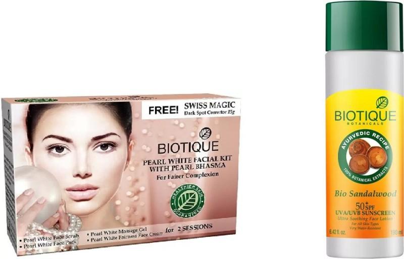 BIOTIQUE BIO Bio Diamond Facial Kit, Bio Sandalwood Ultra Soothing Face Lotion Sunscreen(Set of 2)