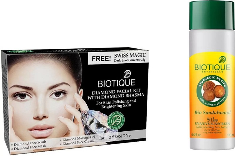BIOTIQUE BIO Bio Diamond Facial Kit, Bio Sandalwood Ultra Soothing Face Lotion 50+ SPF UVA/UVB Sunscreen(Set of 2)