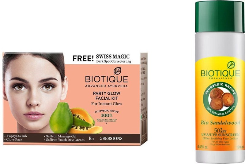 BIOTIQUE BIO Bio Party Glow Facial Kit, Bio Sandalwood Ultra Soothing Face Lotion 50+ SPF UVA/UVB Sunscreen(Set of 2)