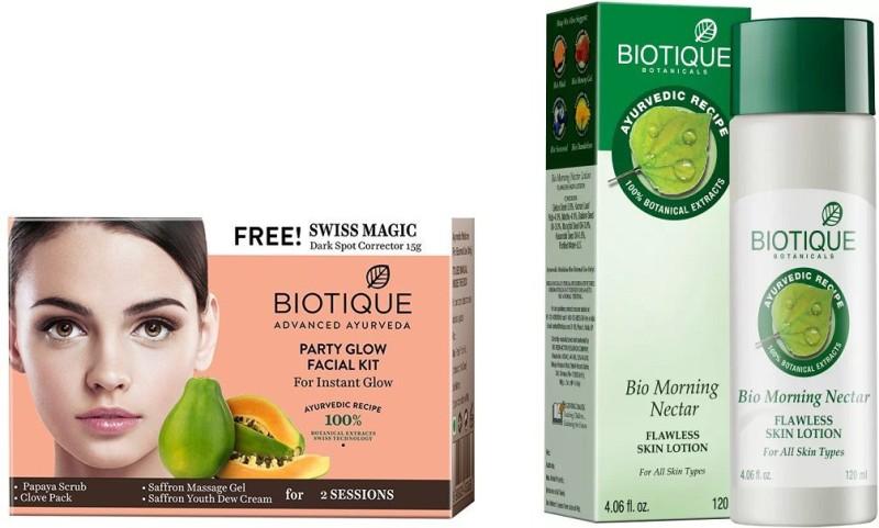 BIOTIQUE BIO Bio Party Glow Facial Kit, Bio Morning Nectar Flawless Skin Lotion For All Skin Types(Set of 2)